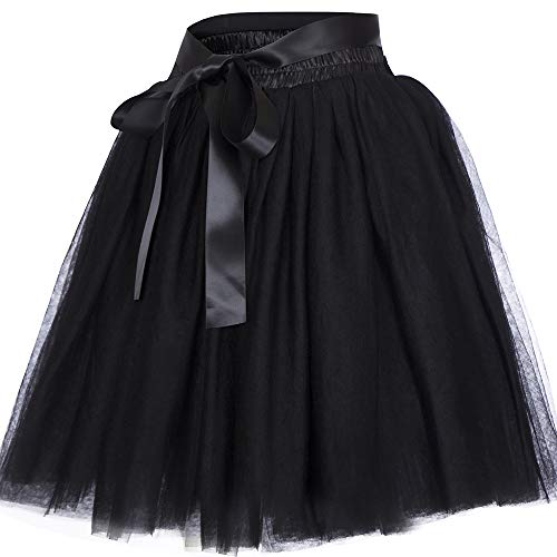 Women's High Waist Princess Tulle Skirt Adult Dance Petticoat A-line Wedding Party Tutu(Black),One Size ()