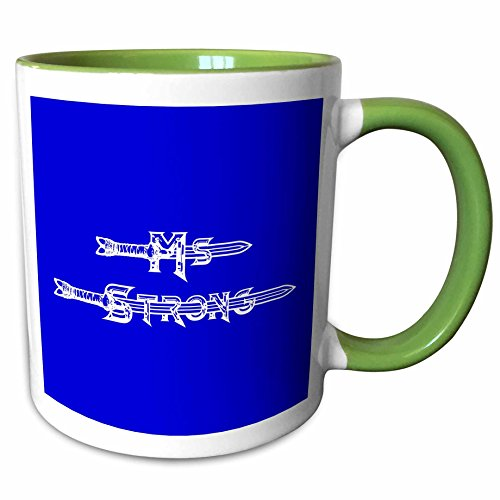3dRose Alexis Design - Brave and Strong - Ms. Strong slogan text. Medieval sword, beaded letters on blue - 15oz Two-Tone Green Mug (mug_286236_12) - Medieval 2 Letter