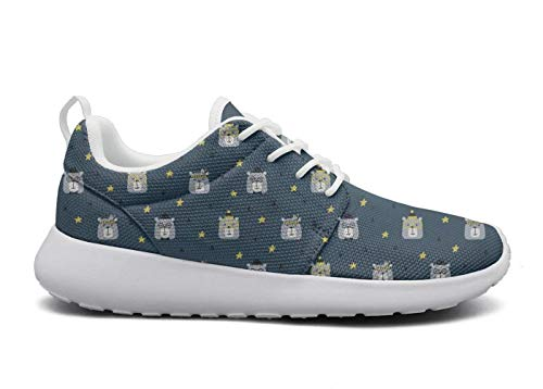Women's Ultra Lightweight Breathable Mesh Athleisure Sneakers Cute Bears with Star Blue Fashion Walking Shoes -