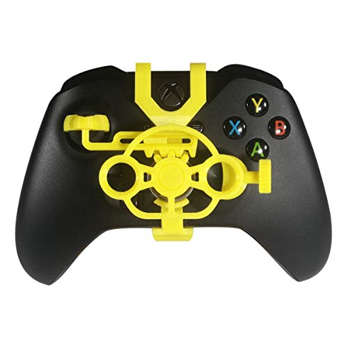 Xbox One Gaming Racing Wheel, 3D Printed Mini Steering Wheel add on for Xbox One X/Xbox One S/Elite Controller (Yellow)