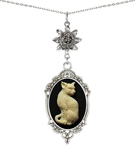 Yspace Lotus Charm Necklace Antique Decor Cameo Pendant 2 Chains Velvet Pouch for Gift (Cat)