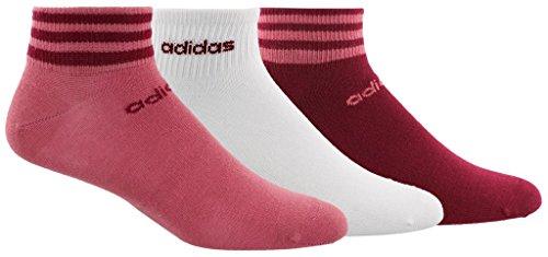 adidas Women's 3-Stripe Low Cut Socks (3-Pack), Trace Maroon Pink/Mystery Ruby/White, Size 5-10