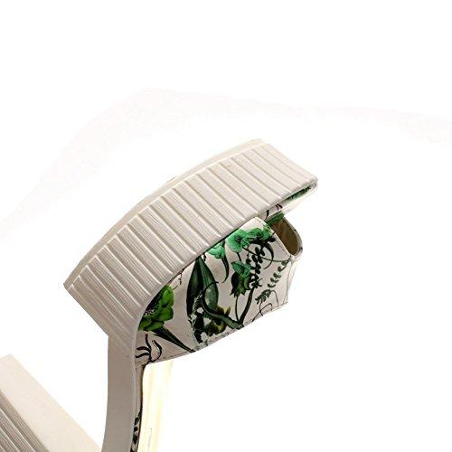 AllhqFashion Mujeres Peep Tacón ancho Hebilla Colores Surtidos Sandalia Verde