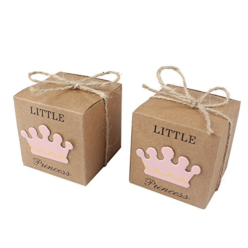 AerWo 50pcs Little Princess Baby Shower Favor Boxes + 50pcs Twine Bow, Rustic Kraft Paper Candy Bag Gift Box for Baby Shower Party Supplies Cute 1st Birthday Girl Decoration, (Shower Favor Boxes)