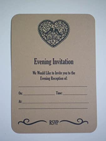 10 X Love Birds In Heart Vintage Font Evening Wedding Reception