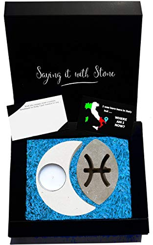 Pisces Stone Candle Holder - Incl Box, Card & Candle - Mothers Day Gift Mom Wife