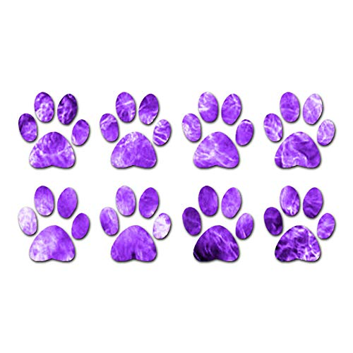 """Eight Dog Paw Prints - Vinyl Decal Sticker - 10.75"""" x 5.75"""" - Purple Flames from Southern Decalz"""