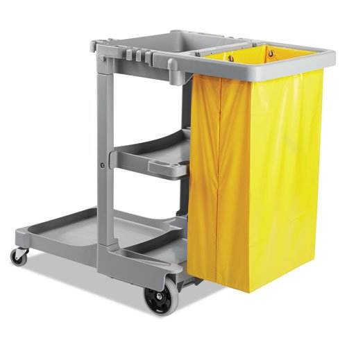 UNISAN Janitor's Cart, 3 Shelves, 22w x 44d x 38h, Gray - Includes cart and vinyl bag.