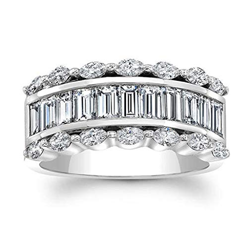 Sterling Silver Diamond Band Ring, Haluoo Fashion Diamond Cylindrical Rings Fashion Cubic Zirconia Baguette Ring Fashion Chunky Statement Engagement Ring Finger Rings Costume Jewelry (8, Silver)