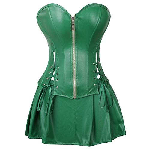 Blidece Women's Punk Rock Faux Leather Corsets Boned Waist Cincher Bustier Overbust Gothic Corset Set Green 4XL -