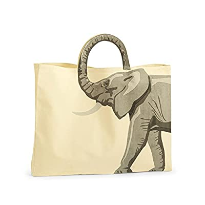 Cotton Canvas Tote Bag Shopper - Lucky Elephant Trunk Up Forms the Handle