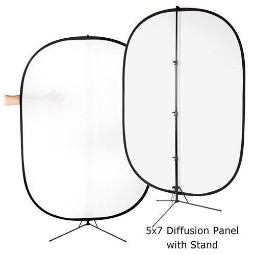 Fotodiox Pro Collapsible Panel - 5x7' 2-Stop Soft Diffuser Panel with Support Stand