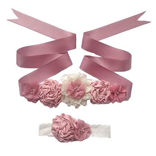 Maternity Flower Sash Belt Flower Girls Dress Belt Bridal Floral Pregnant Sash JB29 (Mauve)