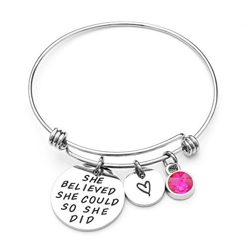 LIUANAN She belived she Could so she did Inspirational Bracelet Expandable Bangle Birthstone Stainless Steel Cuff (Rose-October) ...
