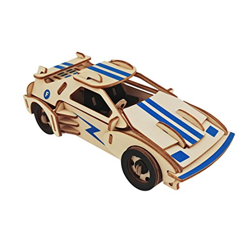 Dlong 3D Wooden Model Toy Kit DIY Assembly Construction Jigsaw Puzzle Woodcraft Set Build Ferrari Sports Car Kit Kids Wooden Puzzle Model Kit Toy