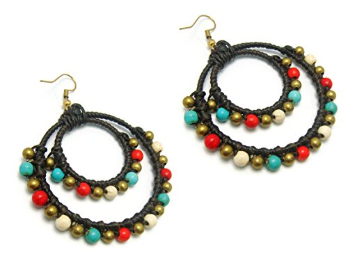 CHADADA CHADADA Tribal Rope Reconstructed Turquoise Brass Drop Dangle Earrings (Multi-Color), ET3 price tips cheap