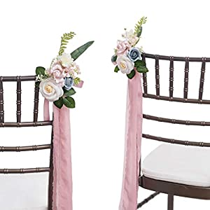 Ling's moment Wedding Aisle Decorations Set of 8 Pew Flowers with Tails for French Style Wedding Decorations 3