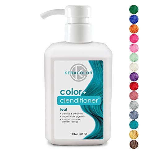Keracolor Clenditioner Color Depositing Conditioner Colorwash, Teal, 12 fl. oz. ()