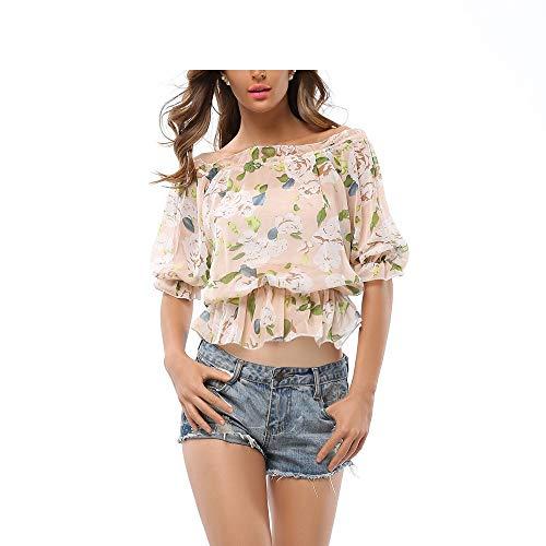 T Mousseline Miode Soie Taille de en Shirt comme Comme color Montr Shirt de Taille en L montr Wild imprime Mousseline T avec Blouses FuweiEncore lastique Soie 7wd8q7