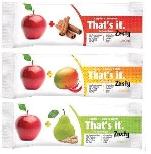 That's it Zesty Sampler, Pack of 12, (. 4 Apple+Pear&Ginger, 4 Apple+Mangoes&Chili, 4 Apple+Cinnamon)