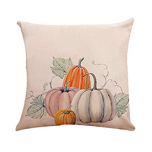 Halloween Decorations Pumpkin Pillowcases Thanksgiving Zipper Cushion Pillows Cover 18 x 18 inch (08) ()