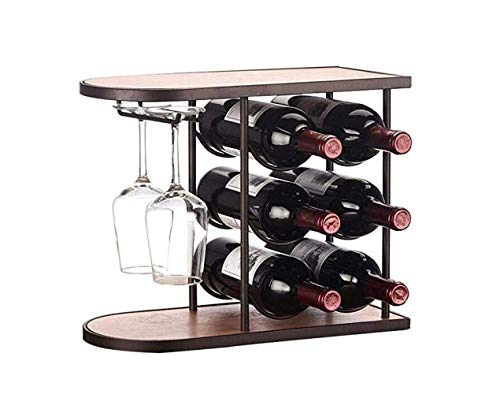 (BAIF Wine Rack,6 Bottles Wine Rack Display Tabletop 3-Tier Wine Stand European Style 2 Wine Glass Holder Interior Decorations,Creative,Wine Rack)