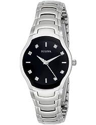 Bulova Womens 96P146 Diamond-Dial Watch in Silver Tone