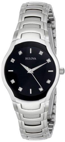 Bulova Women's 96P146 Diamond-Dial Watch in Silver (Bulova Ladies Black Dial Watch)