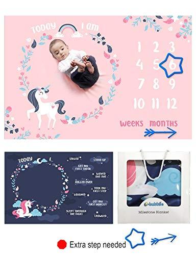 Baby Monthly Milestone Blanket Girl | Premium Minky Fleece in Large 40'x60' | Newborn Photography Props Photo Backdrop|Perfect New Mom Keepsake or Baby Shower Gift Ideas|Free Milestone Marker|Unicorn