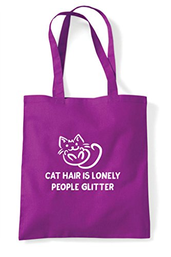 Glitter Shopper Lover Funny Animal Hair Person Lonely Cat Bag Car Is Tote Magenta Pets People wnIxqvnOS
