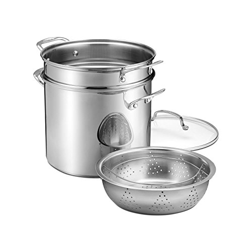Cuisinart 88-412SA Stockpot With Cover Pasta Insert And Steamer Basket, Stainless Steel, 12 quart