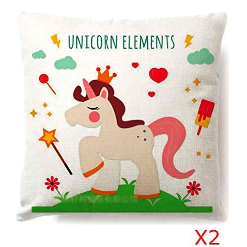 Sunnyillumine Pack of 2 Cartoon Unicorn Pillowcase Cushion Cover Children's Bedroom Decoration Cute Girls Bed Sofa Decoration Birthday Party Decoration (Pattern 05) (Sofa Bed Metro)
