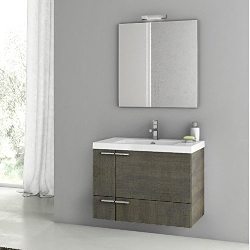 ACF by Nameeks ACF ANS02-GO New Space 31-in. Single Bathroom Vanity Set - Gray Oak