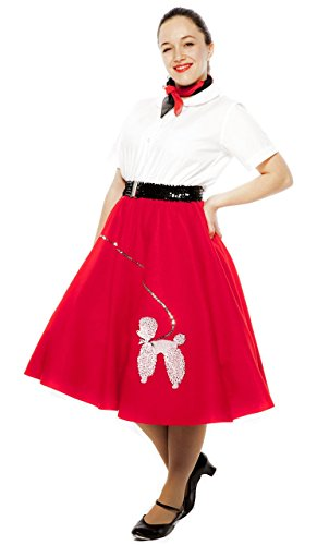 Poodle Skirt - Adult Medium / Large Sz - Red (Red Poodle)