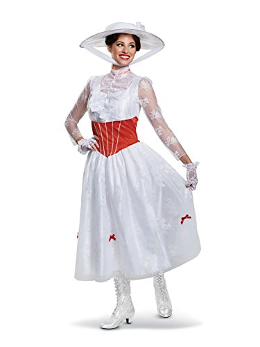 Disguise Women's Mary Poppins Deluxe Adult Costume, White, L (12-14) ()
