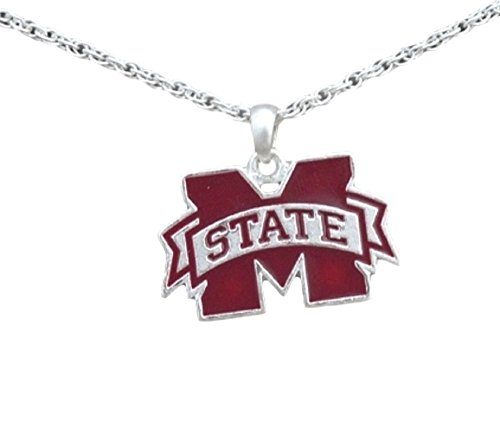 FTH Silver Tone Necklace with Mississippi State Enamel Charm