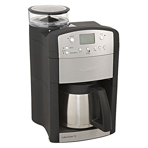 Capresso 465.05 CoffeeTeam TS 10-Cup Digital Coffeemaker with Conical Burr Grinder and Thermal ...