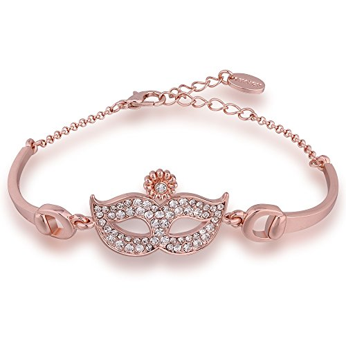 Acxico Sparkling Jewelry Rose Gold Tone Venus Mask With Clear Zirconia Stone Cuff Bangle Women Bracelet