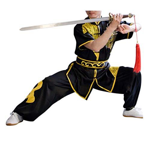 CRB Fashion Mens Boys Childrens Kids Kung Fu Master Tai Chi Dragon Chinese Uniform Outfit Costume Top Shirt Pants Set (Height 140cm, Black) ()