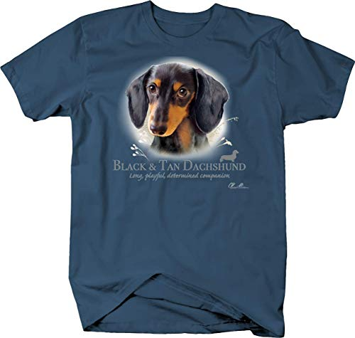 Dachshund Black Denim Shirt - Cute Black and Tan Dachshund Dog Head Looking Shirt Quote Tshirt - 2XL