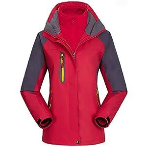AbelWay Women's Mountain Waterproof Windproof Fleece 3 in 1 Jacket Ski Hooded Rain Coat