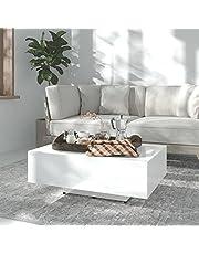 vidaXL Salontafel 85x55x31 cm spaanplaat hoogglans wit
