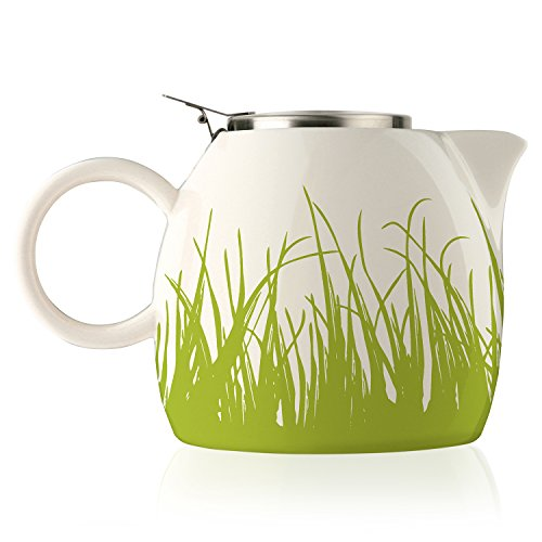 Tea Forte PUGG 24oz Ceramic Teapot with Improved Stainless Tea Infuser, Loose Leaf Tea Steeping For Two, Spring Grass (Ceramic Green Glazed Pistachio)