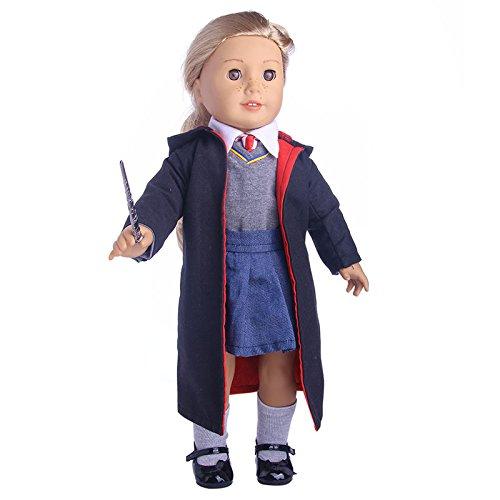 ZWSISU 8pc Hermione Granger Hogwarts-like School Uniform with Cloak Clothes shoes accessories set for 18inch American girl doll (Hogwarts School Uniform)