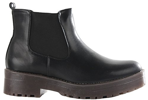 Ladies Womens Flat Low Heel Pixie Booties Pull On Chelsea Faux Leather Shoes Ankle Boots Size Style 16 - Black Faux Leather