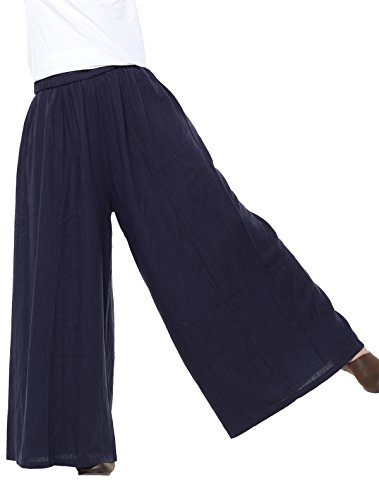 (Mordenmiss Women's Linen Wide leg Elastic Waistband Pants with Pockets (Medium, Navy Blue))