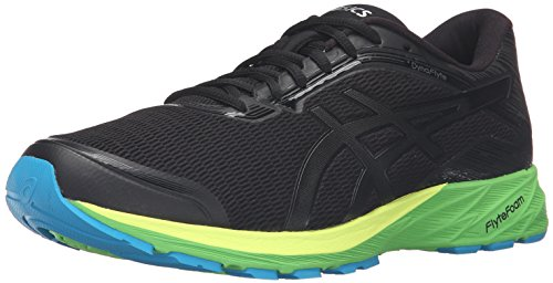 ASICS Men's Dynaflyte Running Shoe, Black/Onyx/Green Gecko, 12.5 M - Onyx Mountain Green