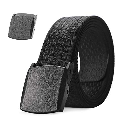 JASGOOD Nylon Outdoors Hiking Unisex Belt Tactical Gun Belt Police Duty Belt with 2 Plastic Nickel Free Buckle,1-2 Black 2-pant Size Below 43