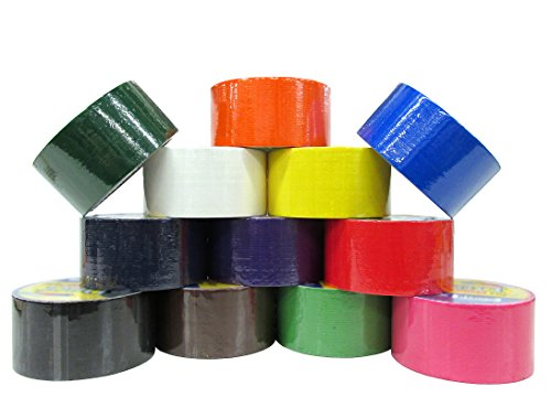 "12 Unit Set of Colored Duct Tapes (6 Darker Colors + 6 Lighter Colors) - Each Roll is 1.89"" X 10 Yards!"