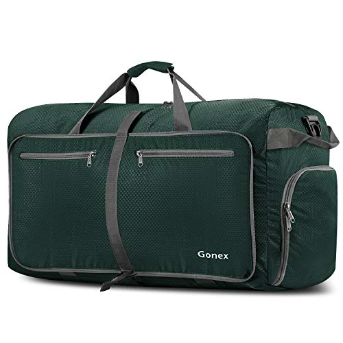 Gonex 100L Foldable Travel Duffel Bag for Luggage Gym Sports, Lightweight Travel Bag with Big Capacity, Water Repellent Blackish Green